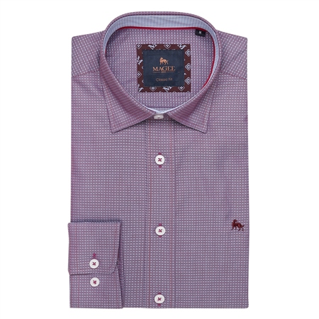 Maroon Balbane Print Classic Fit Shirt  - Click to view a larger image