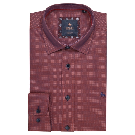 Red Balbane Print Classic Fit Shirt  - Click to view a larger image