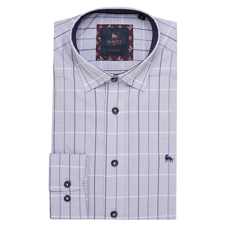 Blue Balbane Checked Classic Fit Shirt  - Click to view a larger image
