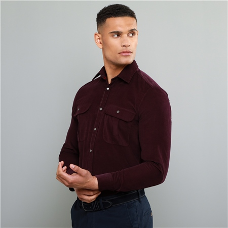 Maroon Drumbar Needlecord Tailored Fit Shirt  - Click to view a larger image
