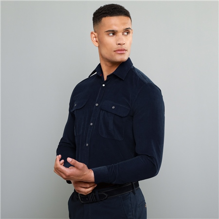 Navy Drumbar Needlecord Tailored Fit Shirt  - Click to view a larger image