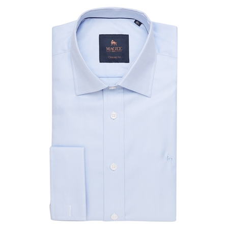 Blue Double Cuff Formal Classic Fit Shirt  - Click to view a larger image