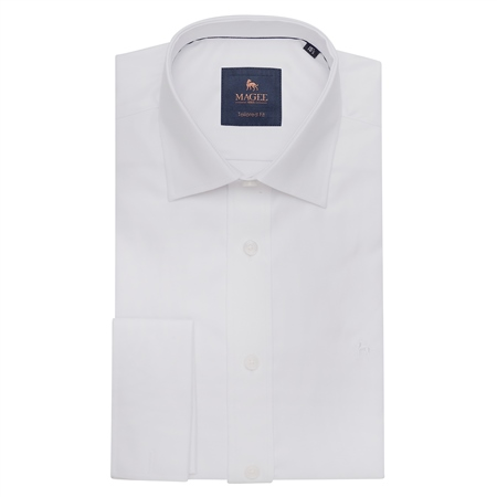 White Formal Dress Collar Double Cuff Tailored Fit Shirt  - Click to view a larger image