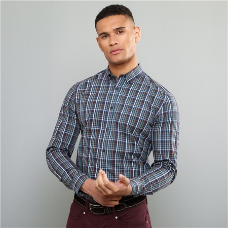 Multicoloured Rarooey Check Button Down Tailored Fit Shirt  - Click to view a larger image