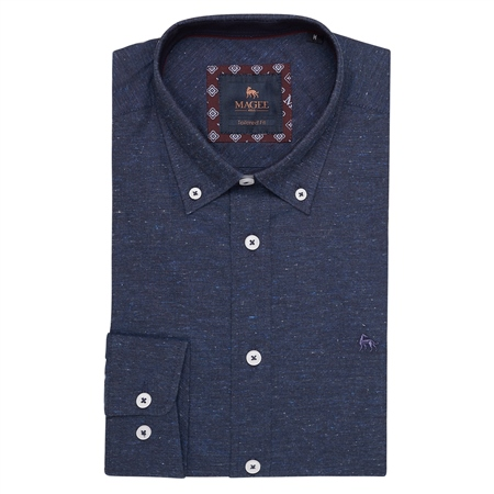 Navy Rarooey Flecked Button Down Tailored Fit Shirt  - Click to view a larger image