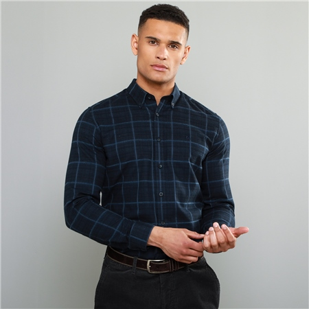 Navy Rarooey Button Down Check Tailored Fit Shirt  - Click to view a larger image