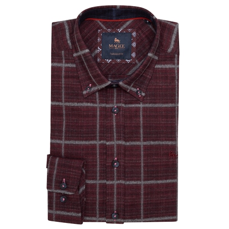 Maroon Rarooey Button Down Check Tailored Fit Shirt  - Click to view a larger image