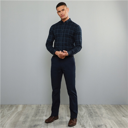 Navy Callan Washed Look Tailored Fit Trousers  - Click to view a larger image