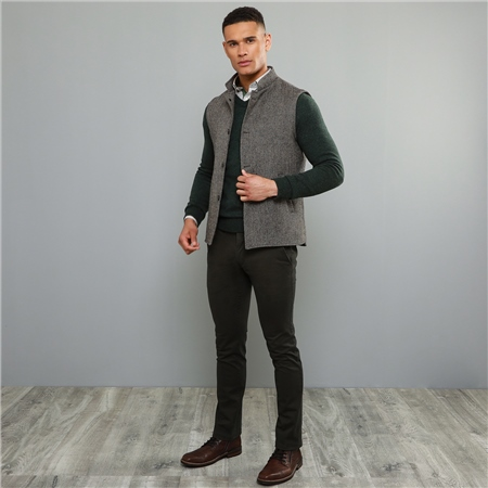 Dark Grey Callan Washed Look Tailored Fit Trousers  - Click to view a larger image