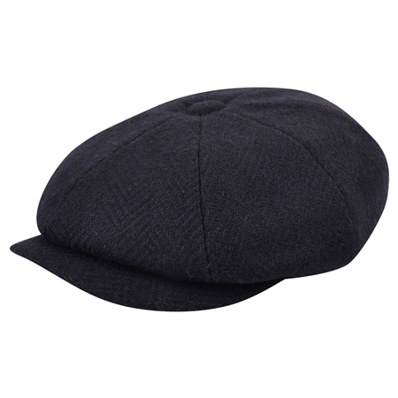 Navy Herringbone Donegal Tweed Baker Cap  - Click to view a larger image