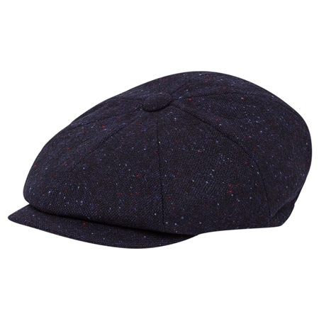 Navy Salt & Pepper Donegal Tweed Baker Cap  - Click to view a larger image