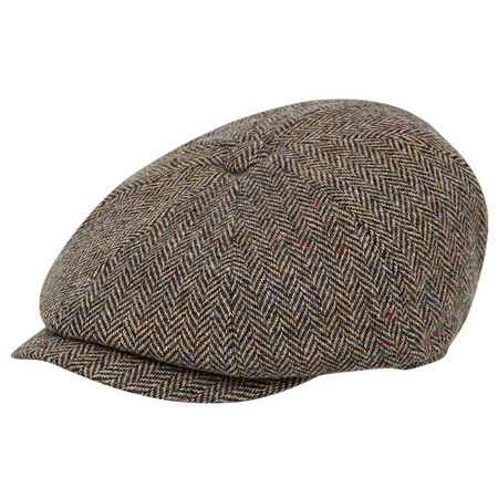Oat Herringbone Donegal Tweed Baker Cap  - Click to view a larger image