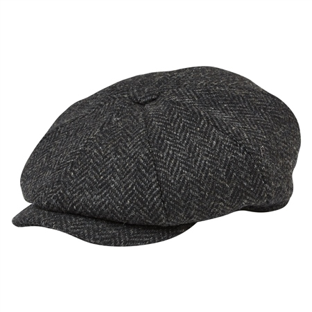 Grey Herringbone Donegal Tweed Baker Cap  - Click to view a larger image