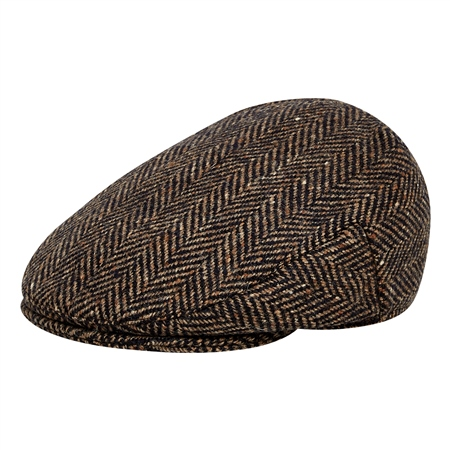 Brown/Navy Herringbone Donegal Tweed Flat Cap   - Click to view a larger image
