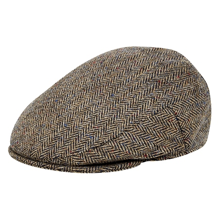 Oat Herringbone Donegal Tweed Flat Cap  - Click to view a larger image