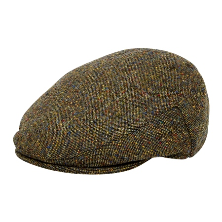 Green Salt & Pepper Donegal Tweed Flat Cap  - Click to view a larger image