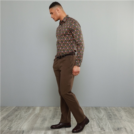 Brown Dungloe Mill-Washed Classic Fit Trouser  - Click to view a larger image