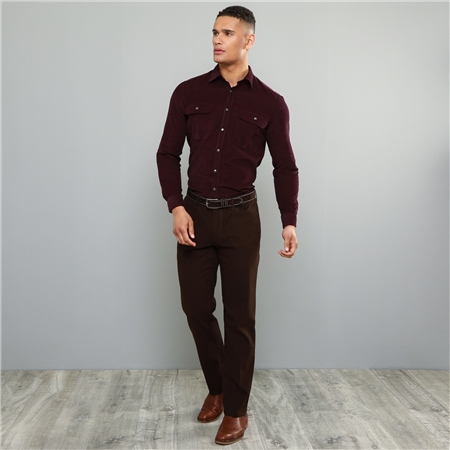Dark Brown Dungloe Mill-Washed Classic Fit Trouser  - Click to view a larger image