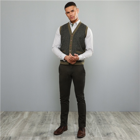 Dark Green Dungloe Washed Classic Fit Trouser  - Click to view a larger image