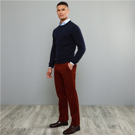 Maroon Dungloe Washed Classic Fit Trouser  - Click to view a larger image