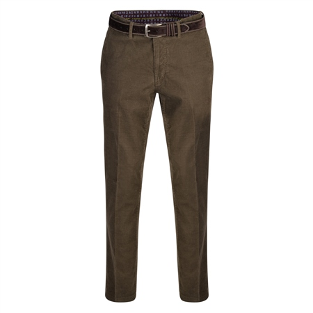 Olive Dungloe Needle Cord Classic Fit Trousers  - Click to view a larger image