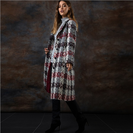 Red and Grey Alexa Donegal Tweed Coat  - Click to view a larger image