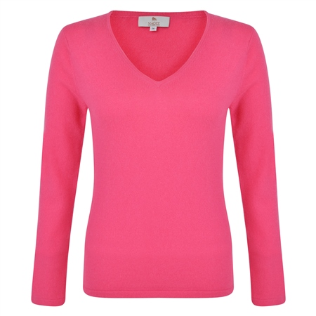 Cerise V-Neck Cashmere Blend Sweater  - Click to view a larger image