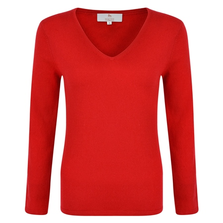 Red V-Neck Cashmere Sweater  - Click to view a larger image
