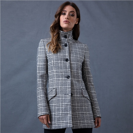 Black & White Linsford Checked Coat  - Click to view a larger image