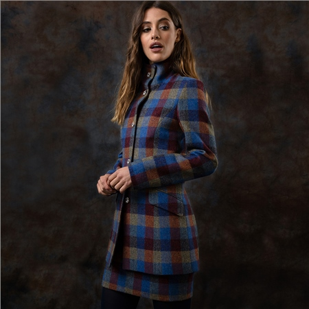 Patchwork Linsford Herringbone Donegal Tweed Coat  - Click to view a larger image