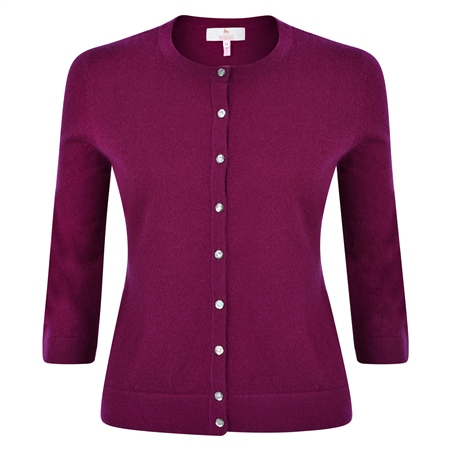 Plum Beatrice Tailored Fit Cardigan  - Click to view a larger image