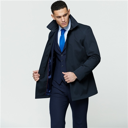 Navy Delvin Water Resistant Mac  - Click to view a larger image