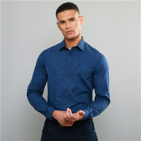 Navy Dunross Printed Tailored Shirt  - Click to view a larger image
