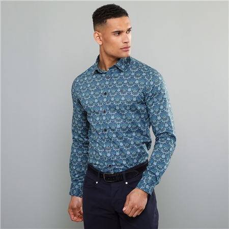 Blue Dunross Liberty Print Tailored Shirt  - Click to view a larger image