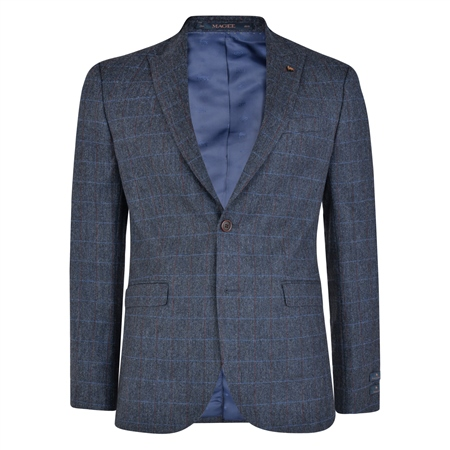 Blue Checked Peak Edge Donegal Tweed 3-Piece Tailored Fit Suit  - Click to view a larger image