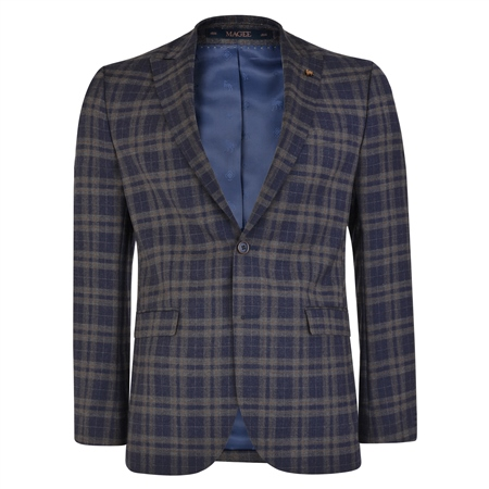 Navy-Brown Prince of Wales Check 3-Piece Tailored Fit Suit  1
