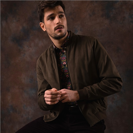 Brown Fincashel Suede Bomber Jacket  - Click to view a larger image