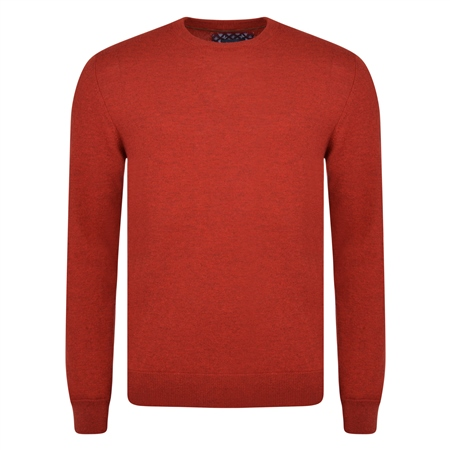 Red Lunnaigh Lambswool Crew-Neck Jumper  - Click to view a larger image