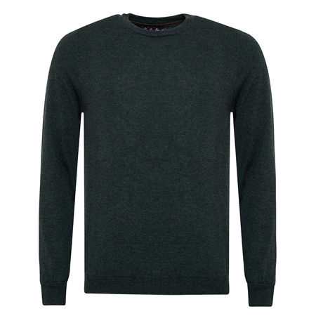 Green Lunnaigh Lambswool Crew-Neck Jumper  - Click to view a larger image