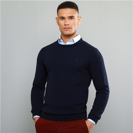 Navy Lunnaigh Lambswool Crew-Neck Jumper  - Click to view a larger image