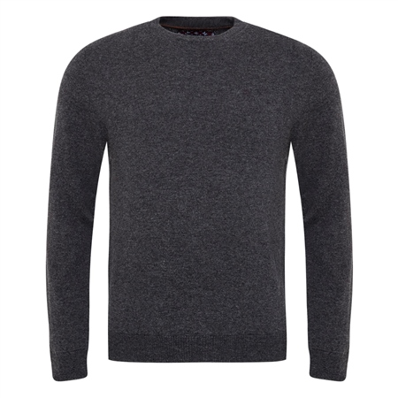 Charcoal Lunnaigh Lambswool Crew-Neck Jumper  - Click to view a larger image