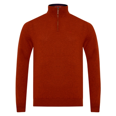 Red Lunnaigh Lambswool 1/4 Zip  - Click to view a larger image