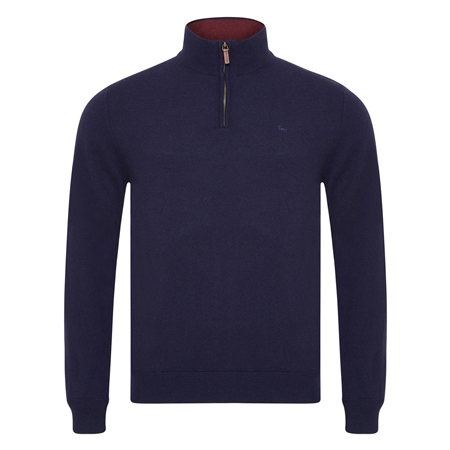 Navy Lunnaigh Lambswool 1/4 Zip  - Click to view a larger image