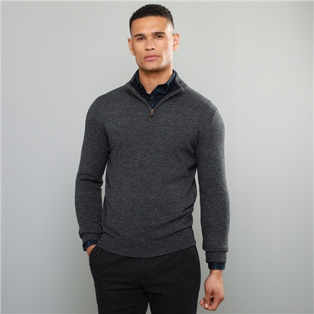 Charcoal Lunnaigh Lambswool 1/4 Zip  - Click to view a larger image