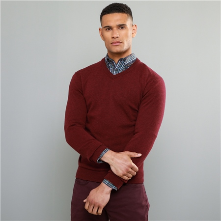 Maroon Lunnaigh Lambswool V-Neck Jumper  - Click to view a larger image
