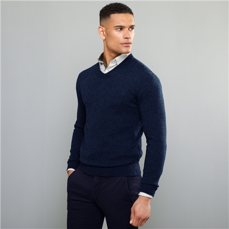 Navy Lunnaigh Lambswool V-Neck Jumper  - Click to view a larger image