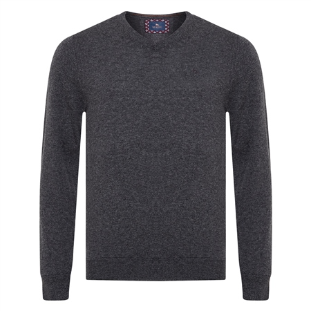 Charcoal Lunnaigh Lambswool V-Neck Jumper  - Click to view a larger image