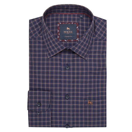Navy Tullagh Button Down Classic Fit Shirt  - Click to view a larger image