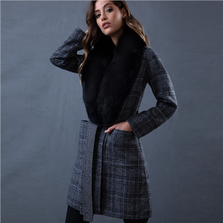 Black & White Amelia Checked Fur Coat  - Click to view a larger image