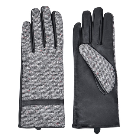 Grey Clogher Donegal Tweed Gloves  - Click to view a larger image
